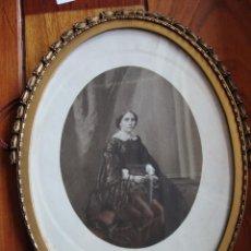 Antigüedades: GRABADO DIBUJO Y FOTO EN MARCO OVALADO ANTIGUO 1851. Lote 40396655