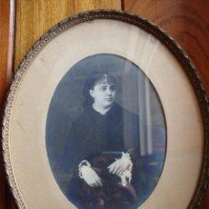 Antigüedades: GRABADO DIBUJO Y FOTO EN MARCO OVALADO ANTIGUO 1851. Lote 40396818