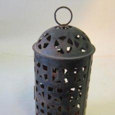 Antigüedades: FAROL DE VELA EN METAL. Lote 40401039