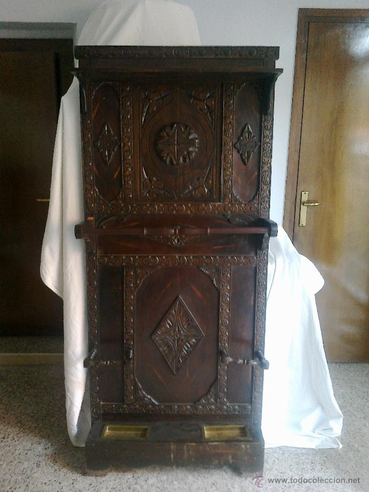 Antiguo mueble de entrada recibidor paraguero comprar - Percheros paragueros antiguos ...