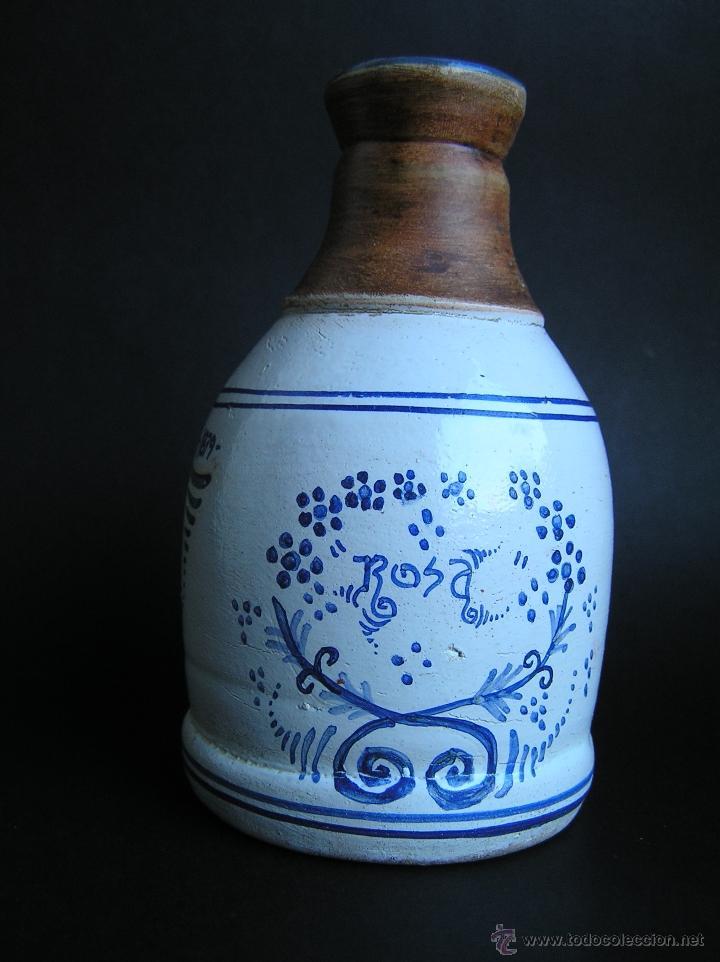 BOTELLA CERÁMICA . ROSA LYON 1879 . MEDICINA SIGLO XIX. (Antigüedades - Porcelana y Cerámica - Francesa - Limoges)