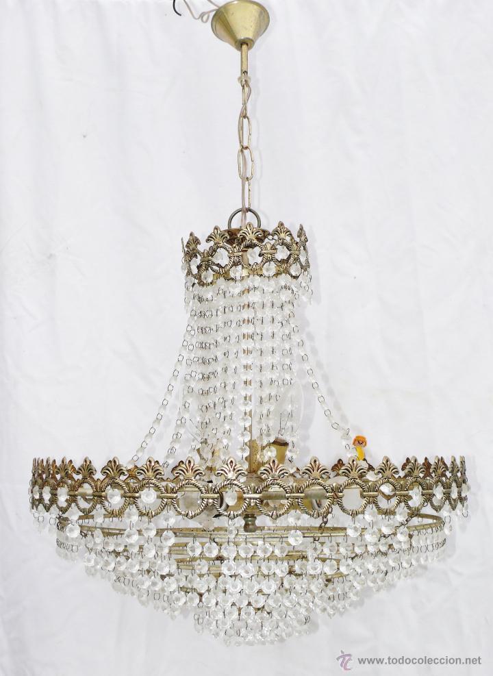 Gran lampara antigua vintage de saco dorada cri comprar - Decoracion con antiguedades ...