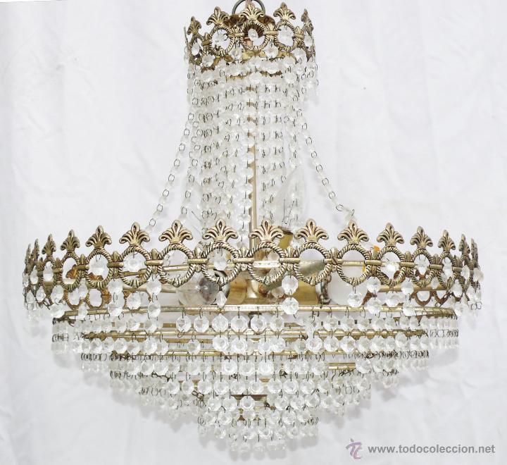 Antigüedades: GRAN LAMPARA ANTIGUA VINTAGE DE SACO DORADA CRISTALES ARAÑA CRISTAL SALON - Foto 2 - 40415457