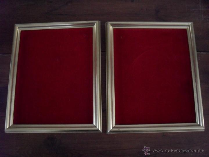 pareja de cuadros, marcos en dorado con terciop - Comprar Marcos ...