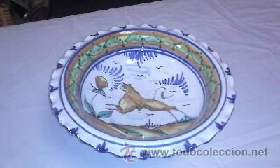 Antigüedades: Antiguo centro de mesa frutero. Talavera de la reina sin firmar.de los años 20/30 - Foto 4 - 40432518