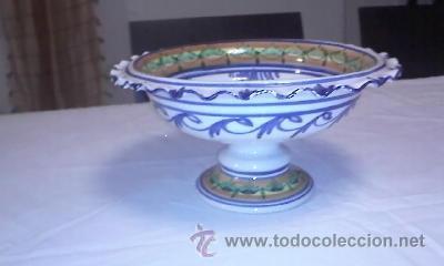 Antigüedades: Antiguo centro de mesa frutero. Talavera de la reina sin firmar.de los años 20/30 - Foto 5 - 40432518