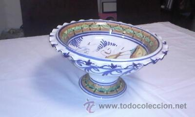 Antigüedades: Antiguo centro de mesa frutero. Talavera de la reina sin firmar.de los años 20/30 - Foto 6 - 40432518