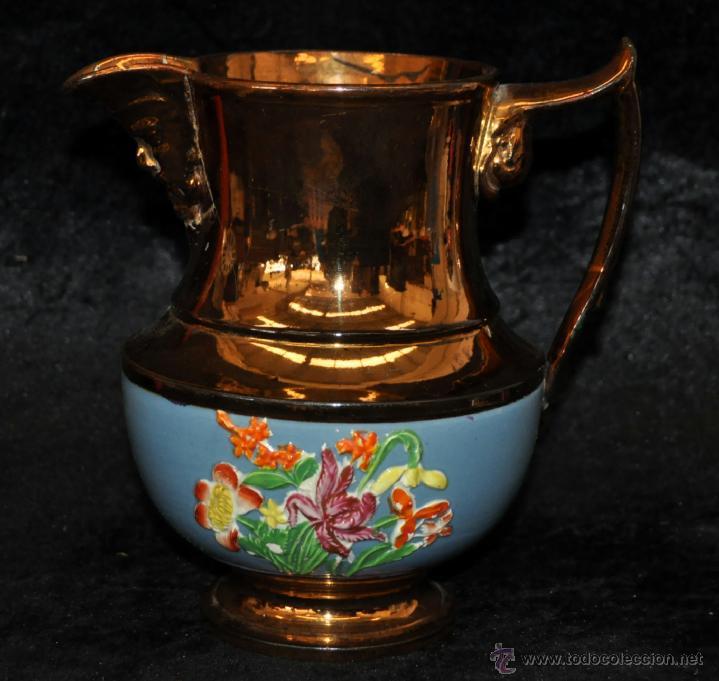 ANTIGUA JARRA DE REFLEJOS (BRISTOL) EN . FINALES SIGLO XIX (Antigüedades - Porcelanas y Cerámicas - Inglesa, Bristol y Otros)