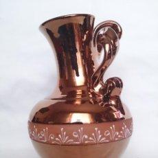 Antigüedades: JARRÓN ANTIGUO MANISES EN CERAMICA CON ESMALTE DESTELLOS METALICOS DE COBRE.. Lote 40453370