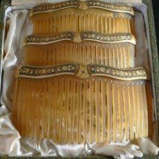 Antigüedades: JUEGO DE 3 ANTIGUAS PEINETAS -DAMASQUINADO. Lote 33084821