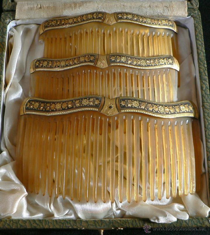 Antigüedades: JUEGO DE 3 ANTIGUAS PEINETAS -DAMASQUINADO - Foto 12 - 33084821