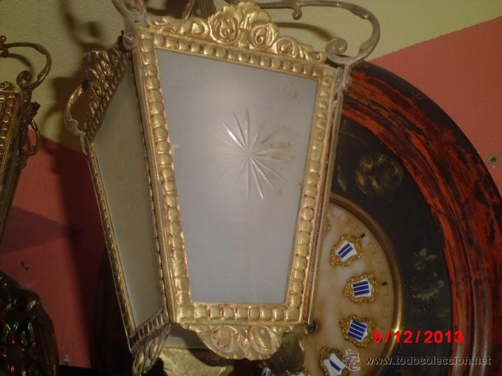 LAMPARA DE TECHO ANTIGUA TIPO FAROL, CON LOS CRISTALES MATES TALLADOS. (Antigüedades - Iluminación - Lámparas Antiguas)