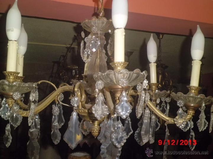 Lampara de techo antigua de bronce y cristal co comprar - Lamparas cristal antiguas ...