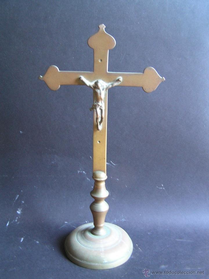CRUZ DE ALTAR-PROCESIONAL. BRONCE. SIGLOS XVII- XVIII. 36 CM. (Antigüedades - Religiosas - Cruces Antiguas)