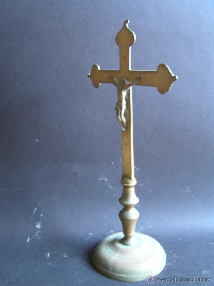Antigüedades: CRUZ DE ALTAR-PROCESIONAL. BRONCE. SIGLOS XVII- XVIII. 36 CM. - Foto 2 - 40468422