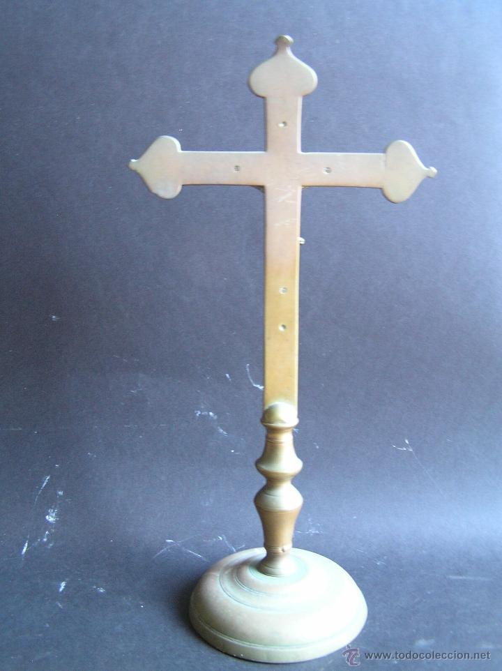 Antigüedades: CRUZ DE ALTAR-PROCESIONAL. BRONCE. SIGLOS XVII- XVIII. 36 CM. - Foto 4 - 40468422