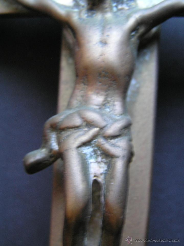 Antigüedades: CRUZ DE ALTAR-PROCESIONAL. BRONCE. SIGLOS XVII- XVIII. 36 CM. - Foto 7 - 40468422