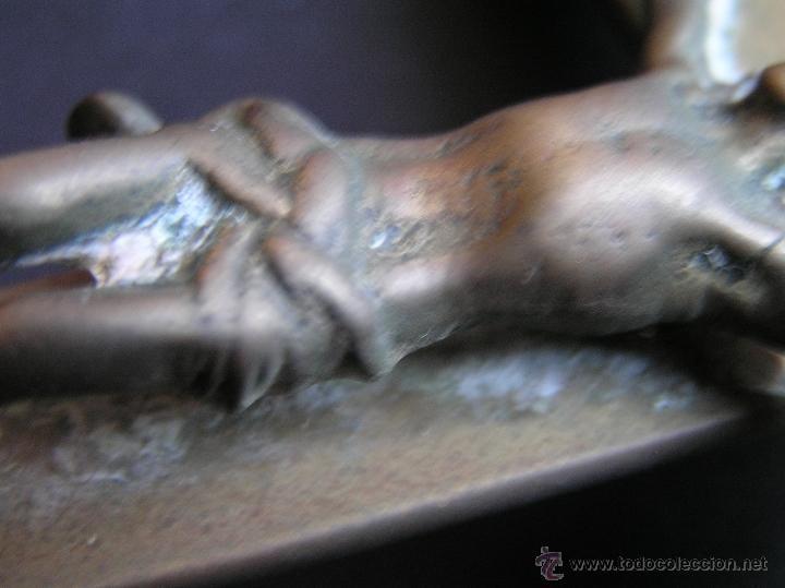 Antigüedades: CRUZ DE ALTAR-PROCESIONAL. BRONCE. SIGLOS XVII- XVIII. 36 CM. - Foto 9 - 40468422