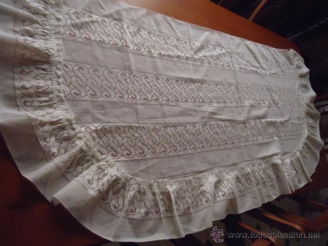Antigüedades: magnifica antigua colcha encajes para cama de matrimonio, con cubre almohada , en - Foto 4 - 40479194
