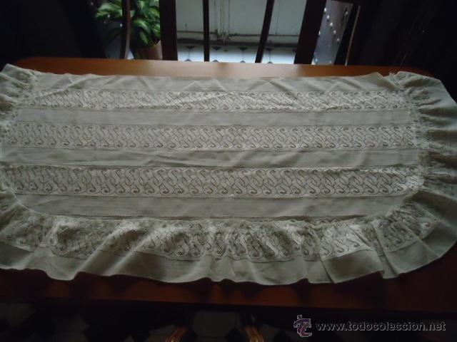 Antigüedades: magnifica antigua colcha encajes para cama de matrimonio, con cubre almohada , en - Foto 6 - 40479194