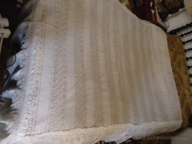 Antigüedades: magnifica antigua colcha encajes para cama de matrimonio, con cubre almohada , en - Foto 7 - 40479194