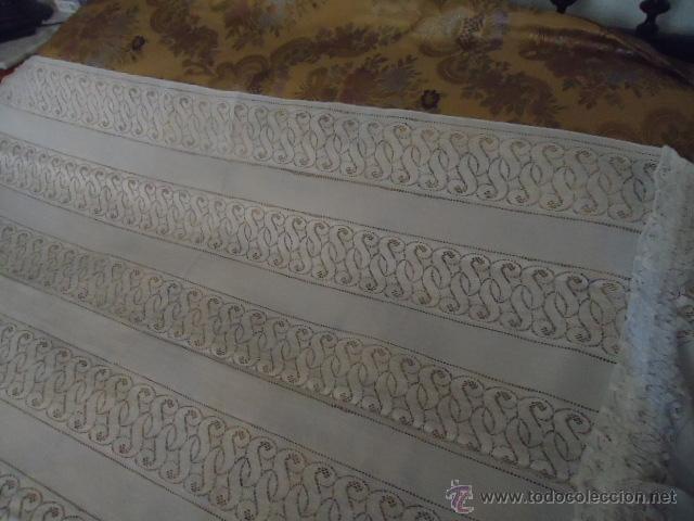 Antigüedades: magnifica antigua colcha encajes para cama de matrimonio, con cubre almohada , en - Foto 8 - 40479194