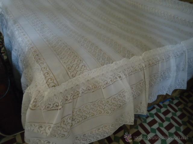 Antigüedades: magnifica antigua colcha encajes para cama de matrimonio, con cubre almohada , en - Foto 9 - 40479194
