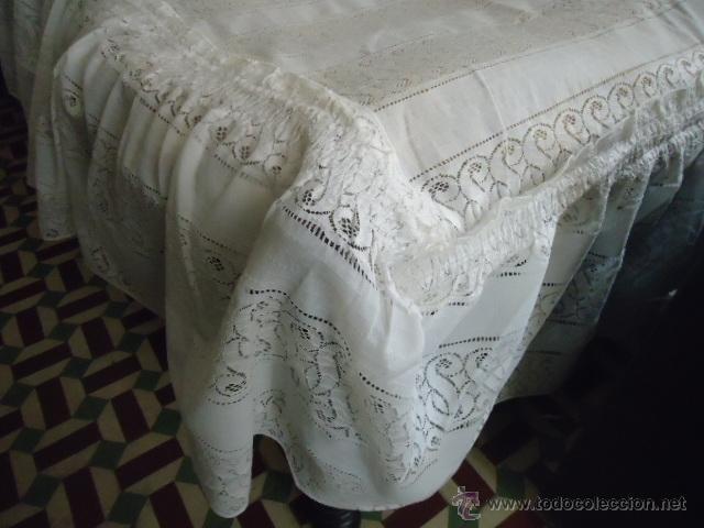 Antigüedades: magnifica antigua colcha encajes para cama de matrimonio, con cubre almohada , en - Foto 10 - 40479194
