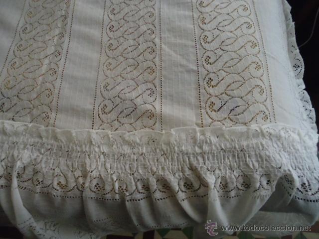 Antigüedades: magnifica antigua colcha encajes para cama de matrimonio, con cubre almohada , en - Foto 13 - 40479194