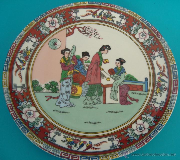 PLATO DE PORCELANA CHINA DECORADO A MANO, PERFECTO (Antigüedades - Porcelanas y Cerámicas - China)