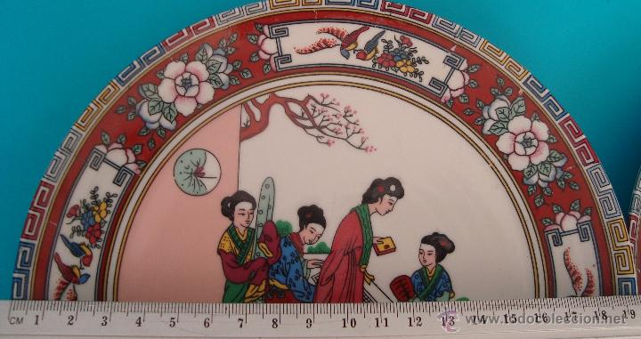 Antigüedades: PLATO DE PORCELANA CHINA DECORADO A MANO, PERFECTO - Foto 3 - 40488346