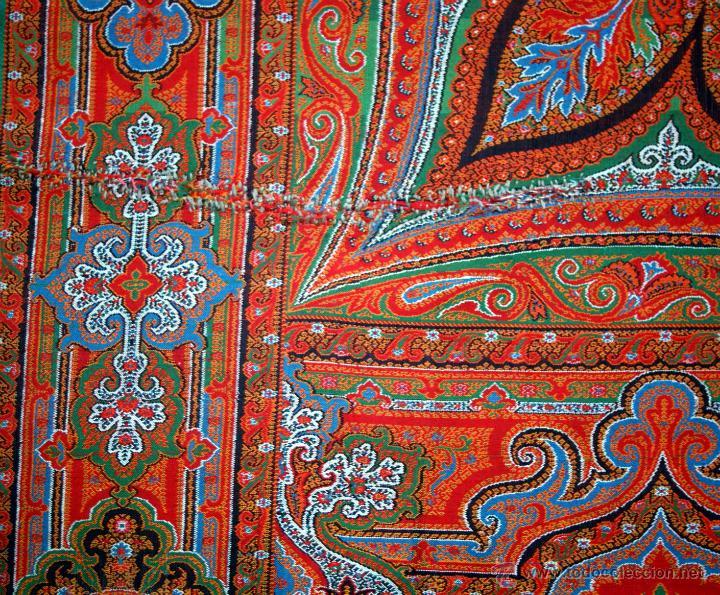 Antigüedades: MANTÓN DE LANA DE CACHEMIRA - Nº 1 - LLAMADOS DE 8 PUNTAS - SIGLO XIX - Foto 15 - 40506833