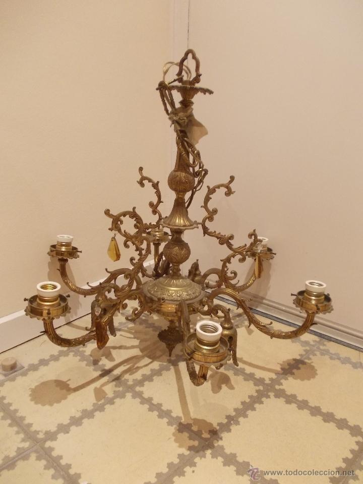 Preciosa y antigua lampara de techo de bronce a comprar - Lamparas antiguas de techo ...