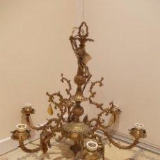 Antigüedades: PRECIOSA Y ANTIGUA LAMPARA DE TECHO DE BRONCE ARAÑA DE SEIS PATAS. Lote 40507664