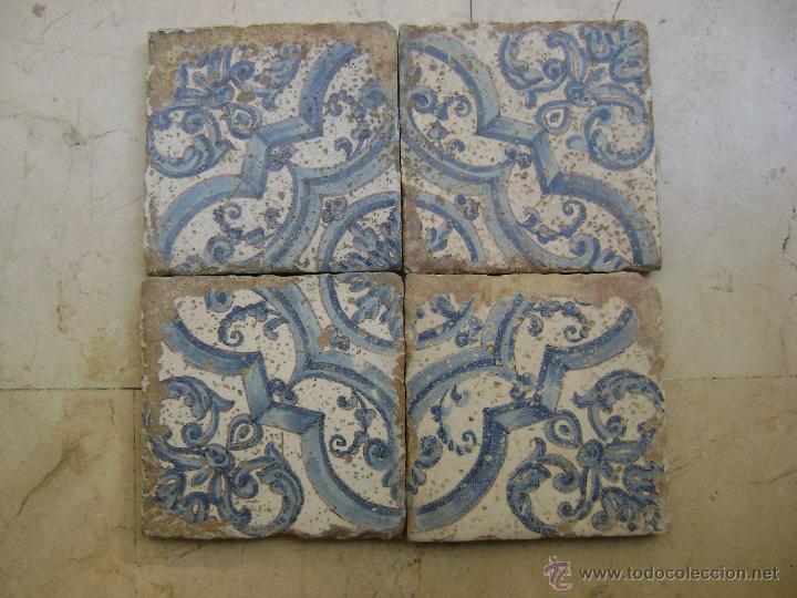 PANEL DE CUATRO AZULEJOS.VALENCIA .SIGLO XVII (Antigüedades - Porcelanas y Cerámicas - Azulejos)