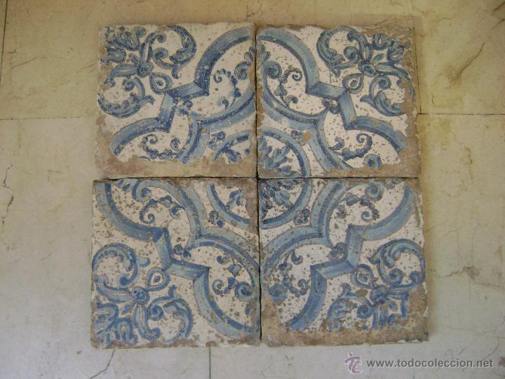 Antigüedades: PANEL DE CUATRO AZULEJOS.VALENCIA .SIGLO XVII - Foto 2 - 40547688