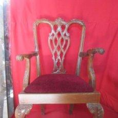 Antigüedades: SILLÓN EN MADERA DE CAOBA ESTILO CHIPPENDALE. Lote 40553689