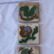 Antigüedades: LOTE DE TRES AZULEJOS ANTIGUOS DE TRIANA- OLAMBRILLAS- PPOS. SIGLO XX- AZULEJO.. Lote 40569866