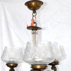Antigüedades: LAMPARA ANTIGUA MODERNISTA TULIPAS CRISTAL TALLADO CROBRE Y BRONCE . Lote 40570568