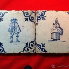 Antigüedades: LOTE 2 AZULEJOS DELFT SXVII . SERIE PERSONAJES. Lote 40571842
