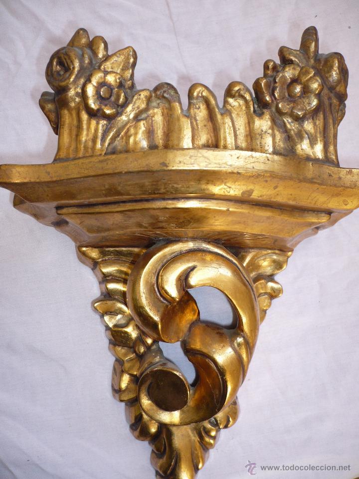 MÉNSULA PEANA TALLADA EN MADERA (Antigüedades - Muebles Antiguos - Ménsulas Antiguas)