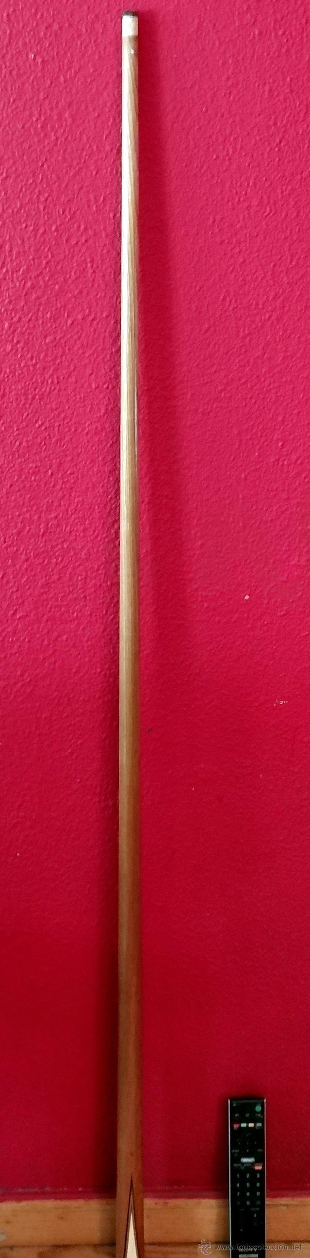 Antigüedades: excepcional palo o bastón de billar de billar, madera de fresno, marquetería y marfil - Foto 4 - 27409995