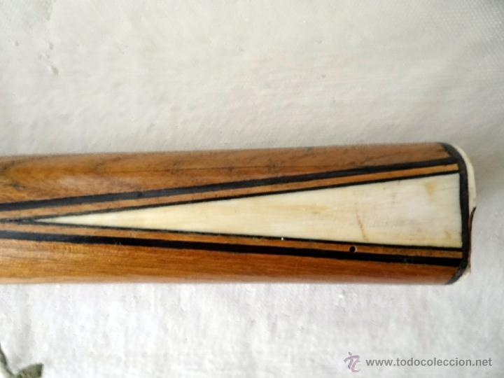 Antigüedades: excepcional palo o bastón de billar de billar, madera de fresno, marquetería y marfil - Foto 8 - 27409995