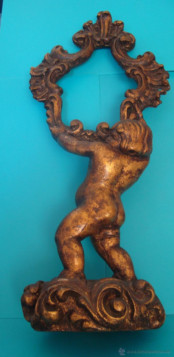 MARCO PARA ESPEJO TALLA QUERUBIN SOBRE PEANA, 50CM. (Antigüedades - Muebles Antiguos - Espejos Antiguos)