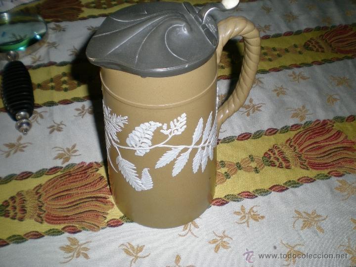 PORCELANA MUY DURA Y TAPA DE ESTAÑO (Antigüedades - Porcelanas y Cerámicas - Inglesa, Bristol y Otros)