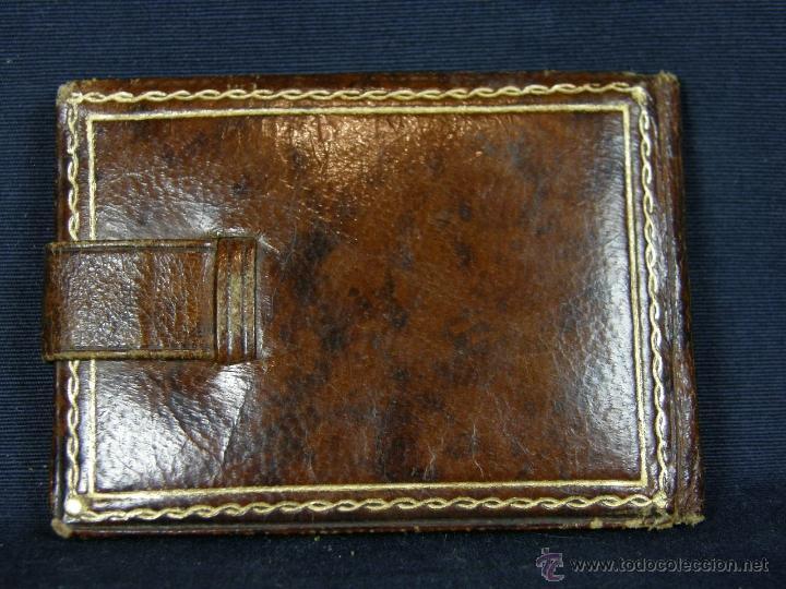 Antigüedades: cartera marquito de fotos portátil cuero y clip Carranque San Sebastián Bilbao 1º mitad siglo XX - Foto 2 - 40643323