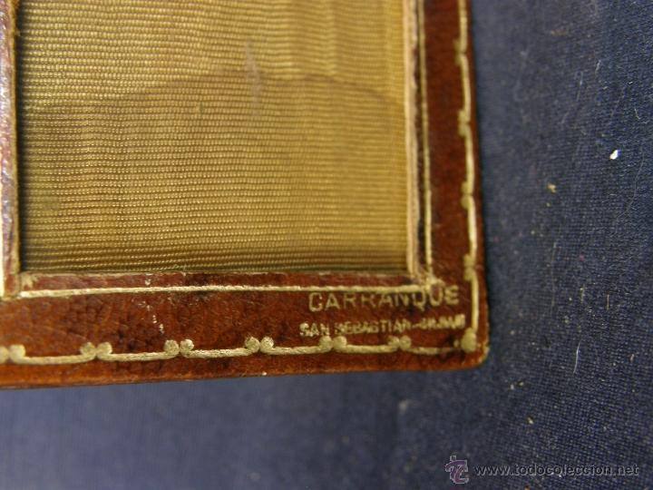 Antigüedades: cartera marquito de fotos portátil cuero y clip Carranque San Sebastián Bilbao 1º mitad siglo XX - Foto 5 - 40643323