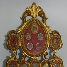 Antigüedades: EXCEPCIONAL RELICARIO COMPUESTO POR UN MARCO DE 11 ESFERAS OVALADAS CON 18 RELICARIOS EN SU INTERIOR. Lote 40644769