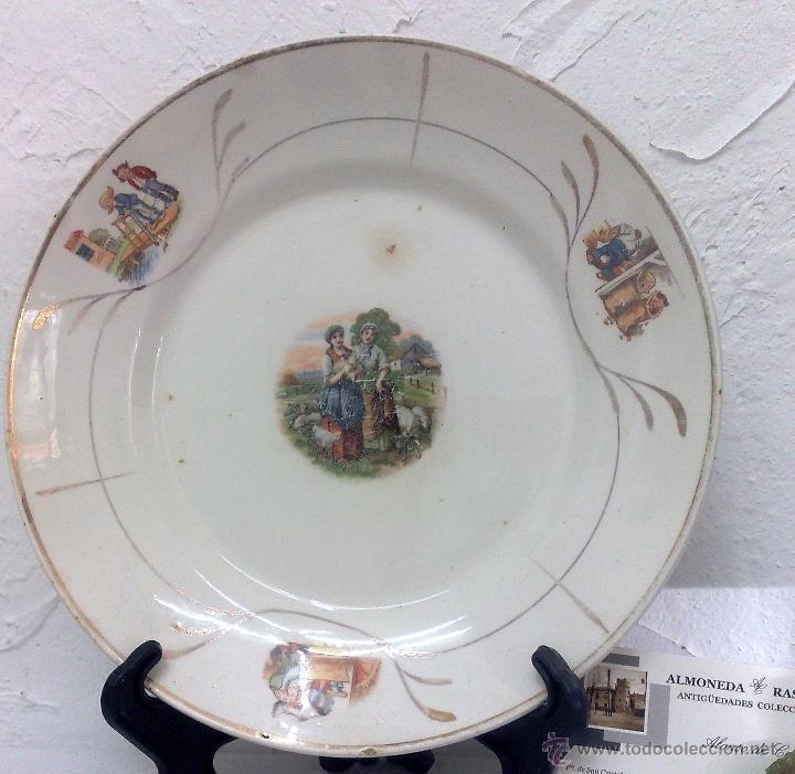Antigüedades: SIGLO XIX-XX.- SAN CLAUDIO.- OVIEDO.- INTERESANTE PLATO EN PORCELANA. - Foto 8 - 40661034