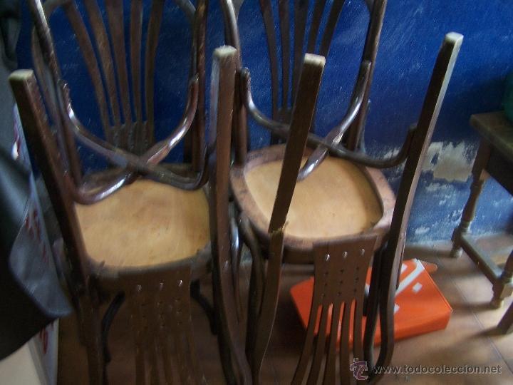 Antigüedades: Juego de 6 sillas muy antiguas de barberia o cafeteria para restaurar - Foto 2 - 40673710